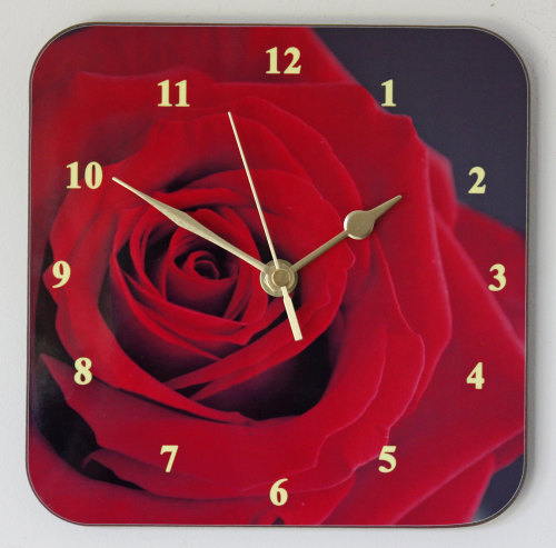 Large Red Rose - Square Clock
