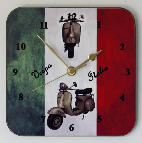 Vespa Scooter on Italian Flag - Square Clock