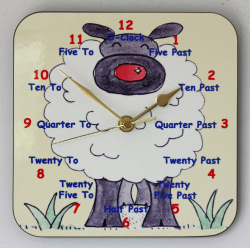 Sheep Clock for Teaching the Time - Square Clock