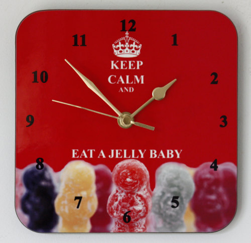 Keep Calm & Eat a Jelly Baby - Square Clock