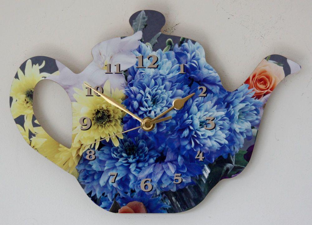 Tea Pot Clock - Flowers