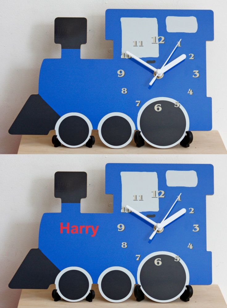 Blue Locomotive Clock