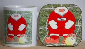 Personalised Novelty Footballer Mug & Coaster Gift Set