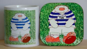 Personalised Novelty Rugby Player Mug & Coaster Gift Set