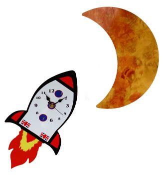 Rocket ship and Moon - Wall Clock Set