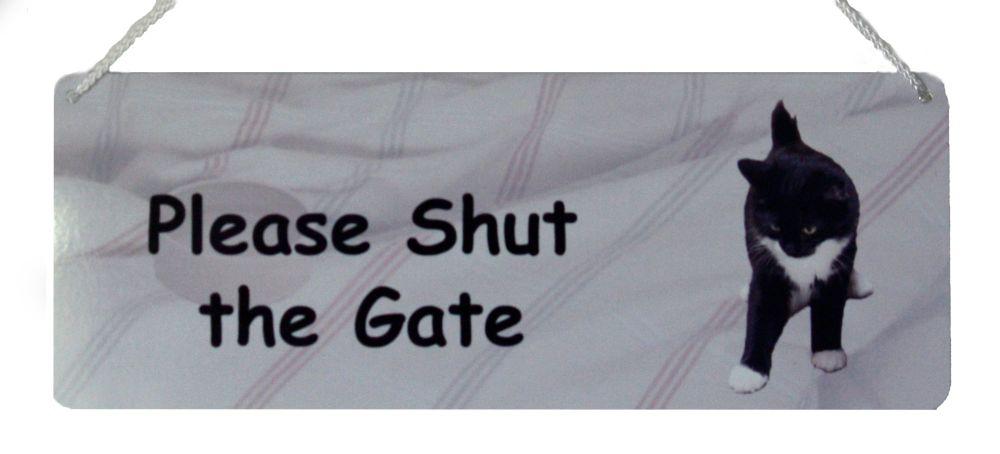 Please Shut the Gate - B&W Cat