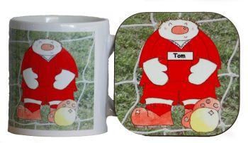 Personalised Novelty Footballer Mug & Coaster Gift Set