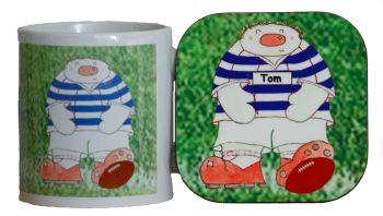 Personalised Novelty Rugby Player Mug & Coaster Gift Set
