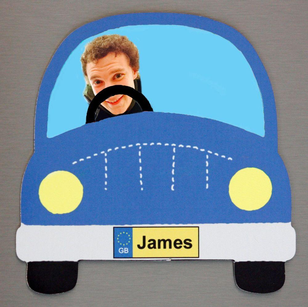 Blue Car - Passenger and Name