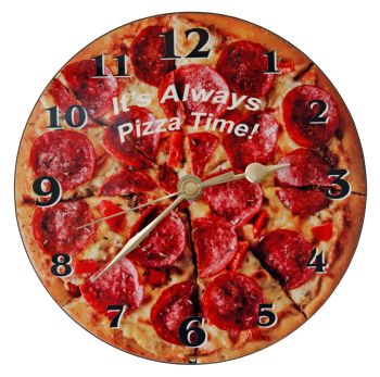 Pizza Wall Clock - Pepperoni with Text