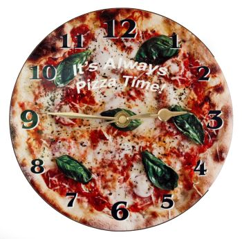 Pizza Wall Clock - Margherita with Text