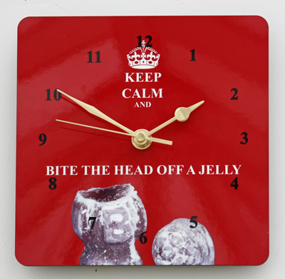 Keep Calm & Bite the Head off a Jelly - Square Clock