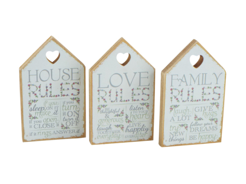 Shabby chic house shaped sign
