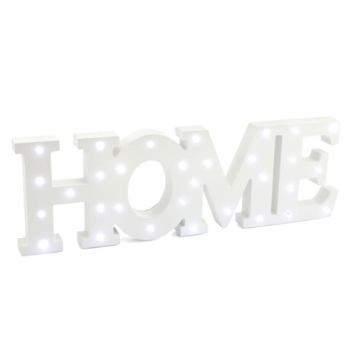 'Home' wooden LED light up word