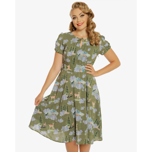 Vintage style 'Dana' deer print day dress