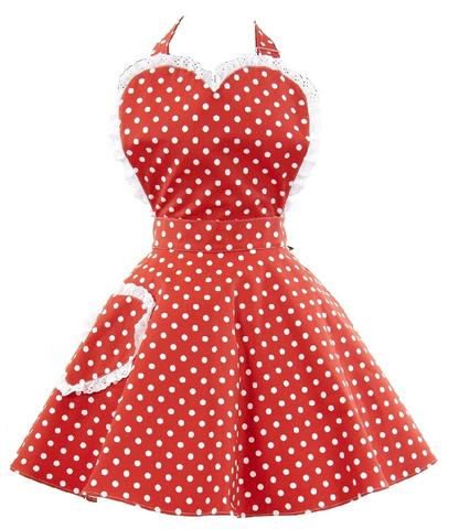 Vintage retro style sweetheart apron - red polka dot
