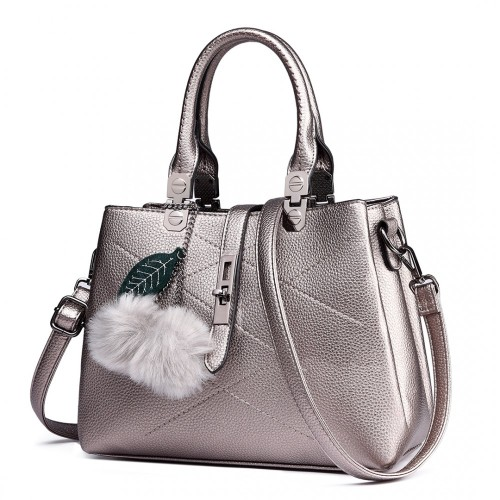 Pom pom shoulder bag - metallic