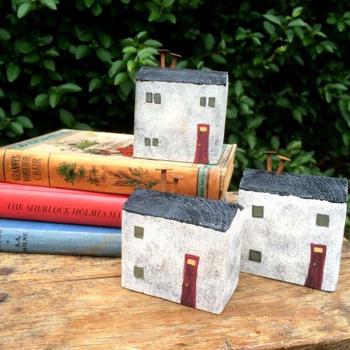 Hand painted reclaimed wood cottages, home decor, little houses, limestone