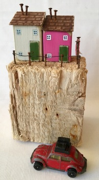 Driftwood art * Little wooden houses * Recycled art * Coastal art * Little houses * Gift for Mum * Gift for her *Valentines Day for her * Mother's Da