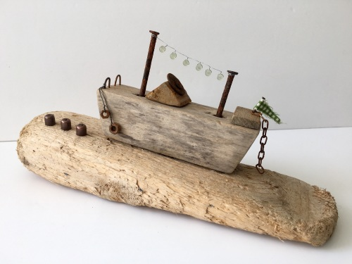 Driftwood Boat Sculpture. Gift for Men, Wedding Gift, Birthday Gift, Recycl