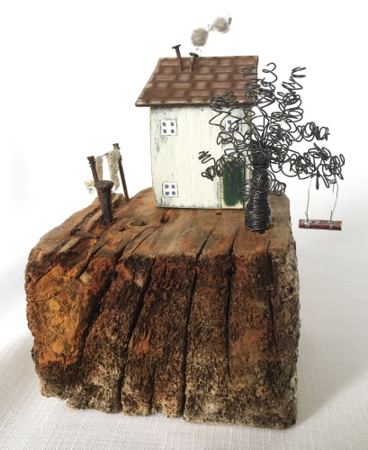 Driftwood art, Little House, Driftwood, Gift for Mum, Rustic Wedding Gift,