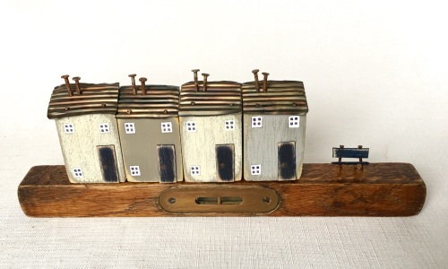 Vintage wooden tools, vintage spirit level, recycled wood, Little houses, R