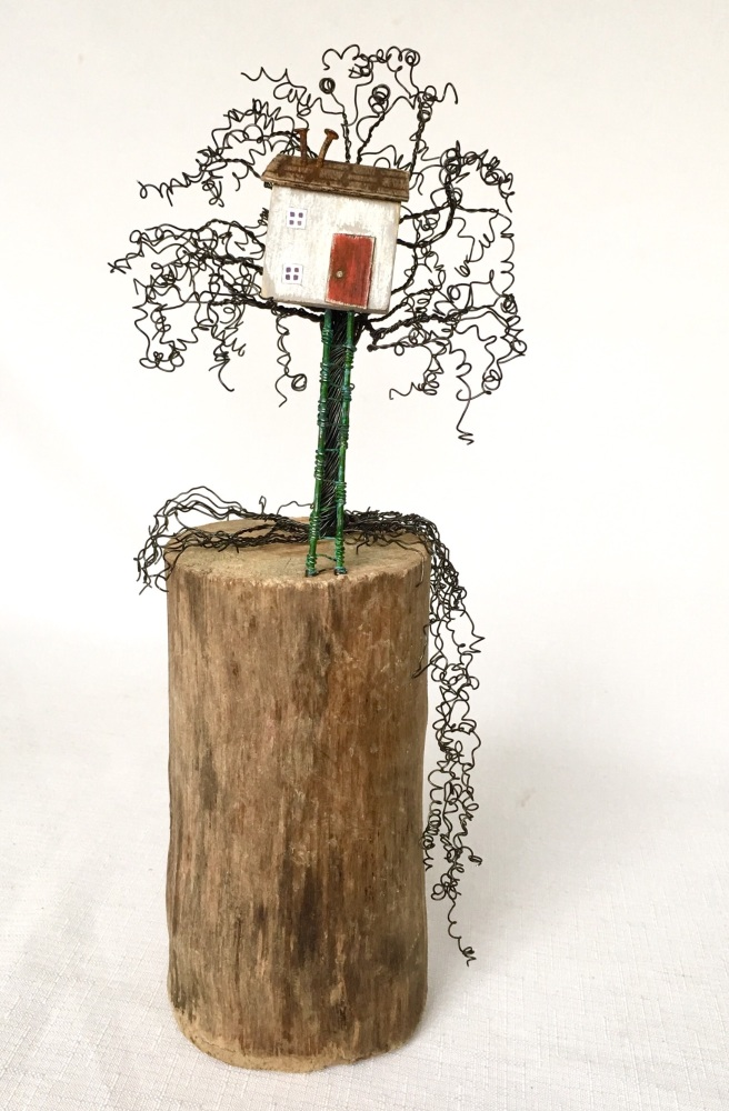 Tree house, Recycled art, Driftwood art, Reclaimed wood, Wire art, Gift for