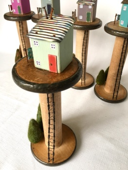 Vintage Industrial Spool House- Ice Blue/Green