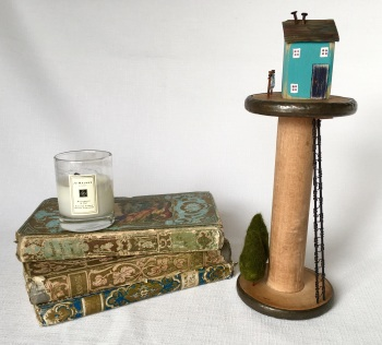 Vintage Industrial Spool House - Peacock Blue