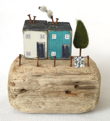 Hilltop Houses - blue and white