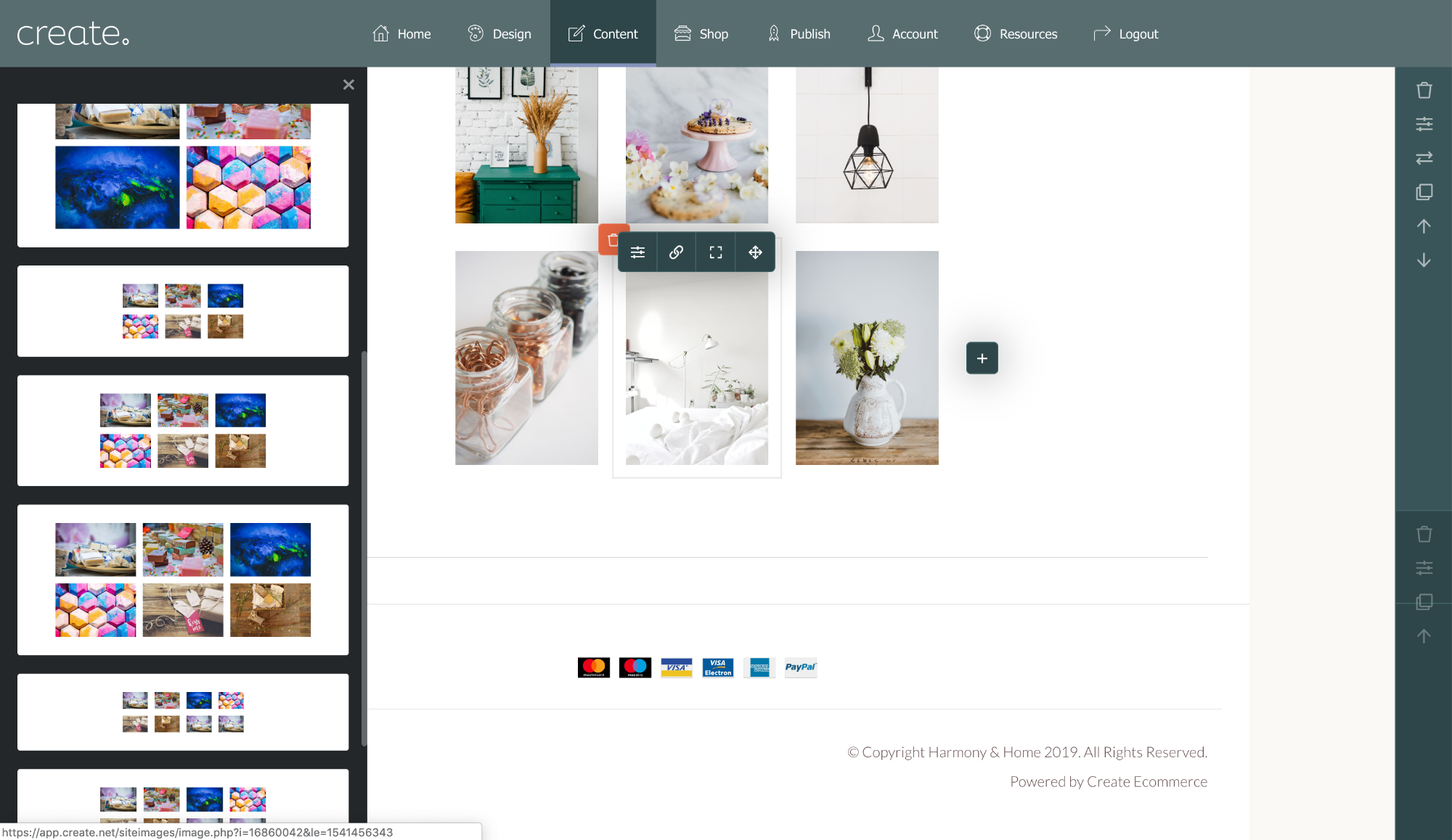 Design your gallery layout by choosing from the selection of gallery block styles