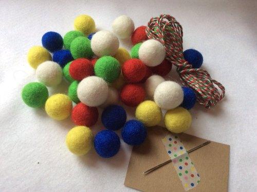 Circus wool felt ball garland kit