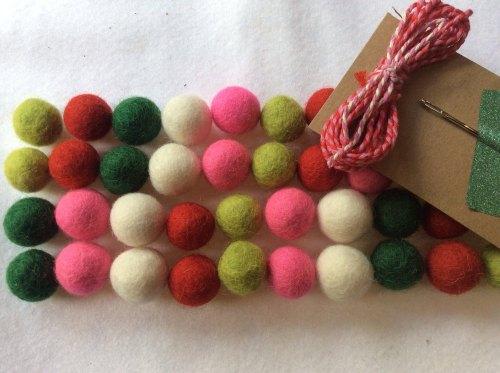 Watermelon wool felt ball garland kit