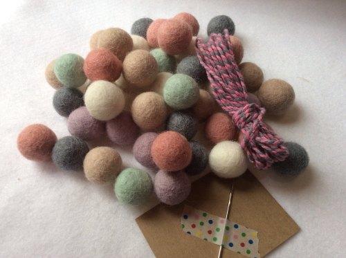 Vintage babe wool felt ball garland kit
