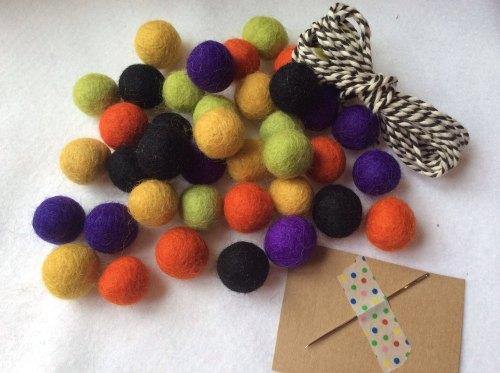 Spooky wool felt ball garland kit