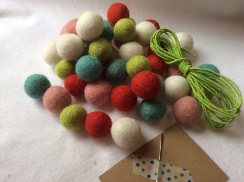 Funky wool felt ball garland kit
