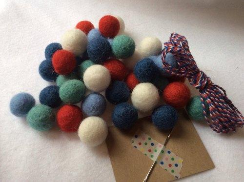 Nautical wool felt ball garland kit