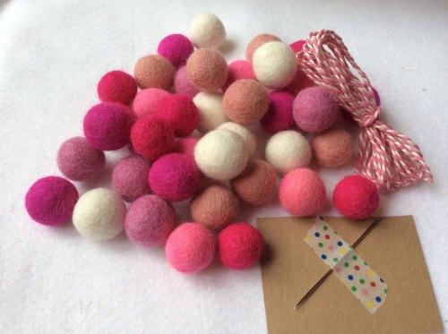 All pink wool felt ball garland kit