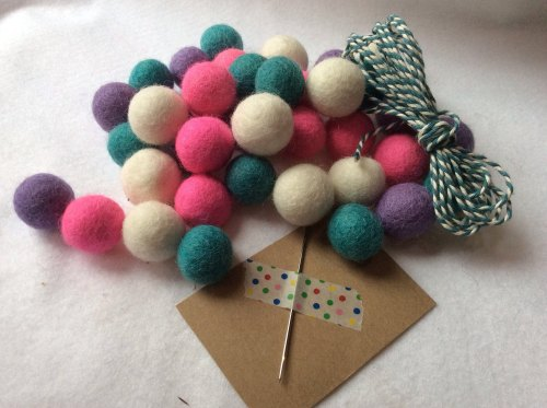 Girly wool felt ball garland kit