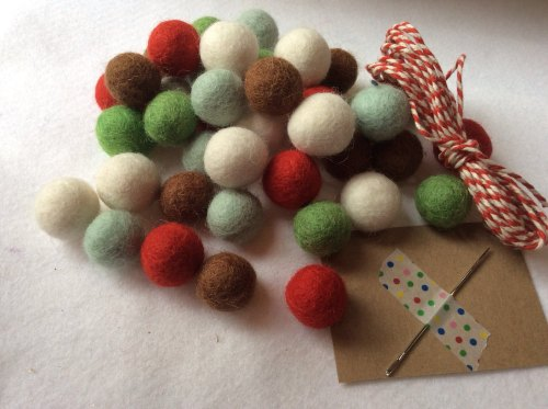 Nordic wool felt ball garland kit