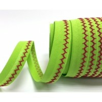 Lime and pink zigzag stitched bias binding