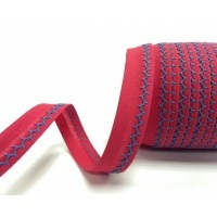 Bright pink and turquoise zigzag bias binding