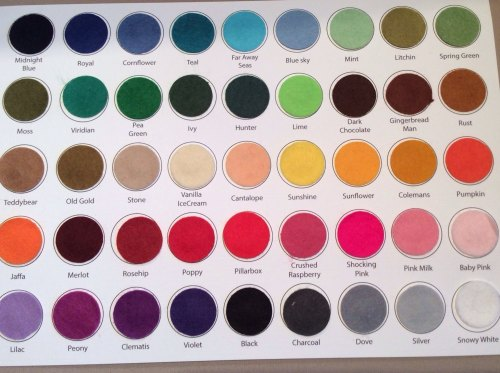 Acrylic felt colour swatch card