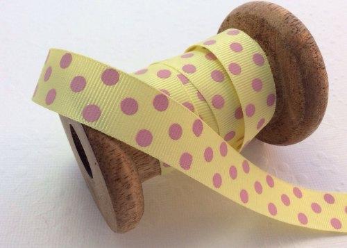22mm lemon/pink polka dot