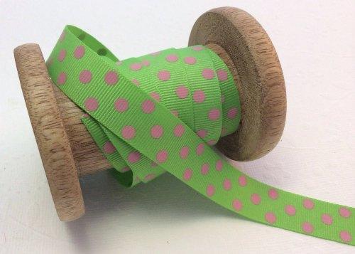22mm Lime/pink polka dot