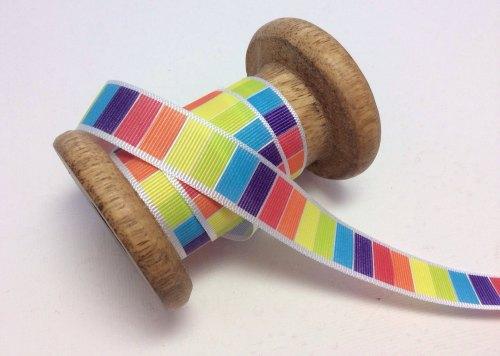 25mm bright block striped ribbon