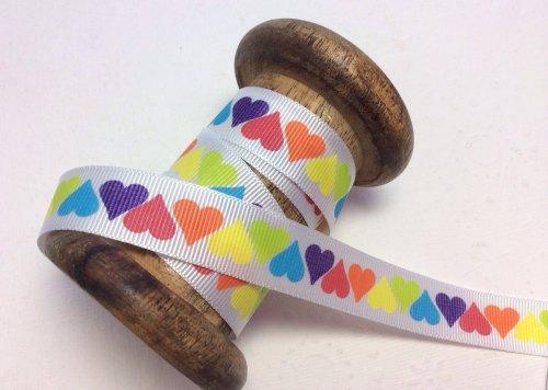 25mm Bright hearts ribbon