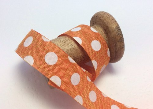 25mm satsuma dotty burlap ribbon