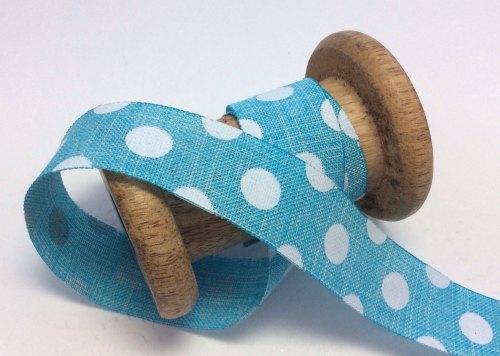 25mm blueberry dotty burlap ribbon
