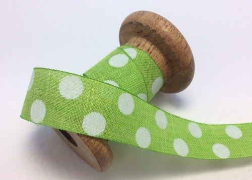 25mm lime dotty burlap ribbon